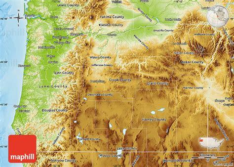 physical map of oregon physical map of oregon