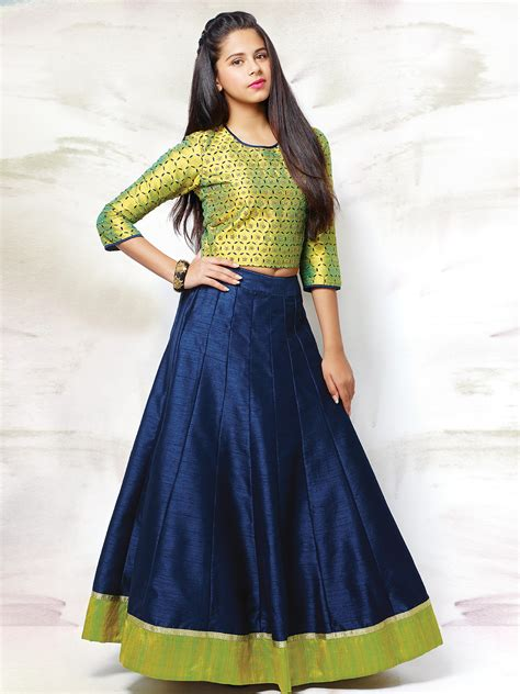 Green Navy Raw Silk Wedding Wear Girls Lehenga Choli   Buy