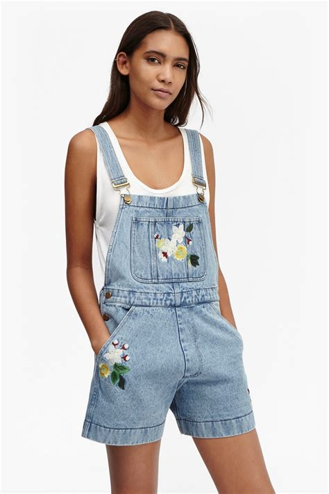 Overall Balotely Blue Pink Dionne Denim Embroidered Dungarees Collections