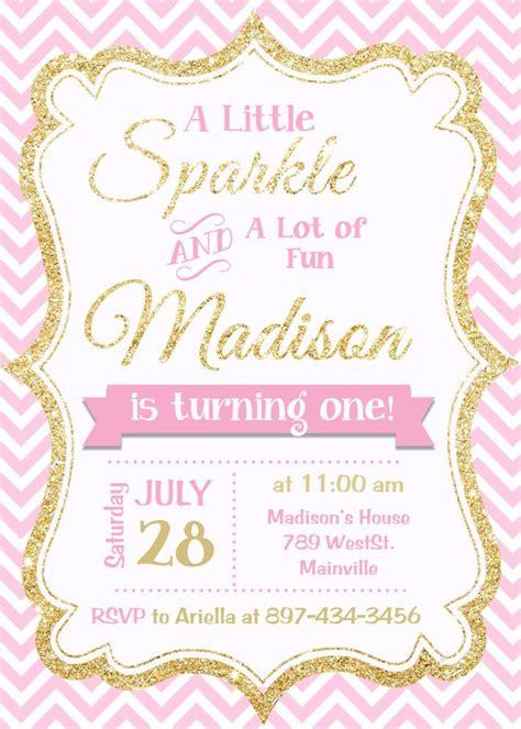 Pink And Gold Invitation Gold Glitter Invitation 1st Birthday Invitation Girl Birthday Pink And Gold Invitations Templates