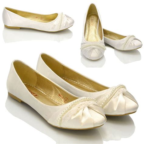 flat ivory lace wedding shoes new womens lace pearl wedding bridal ivory white ballerina