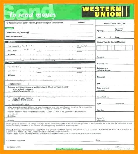 western union money order receipt template money order receipt template western union money transfer