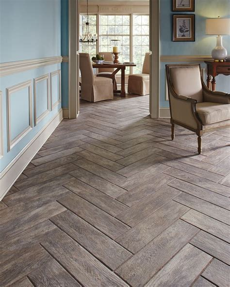 wood plank tiles herringbone pattern house