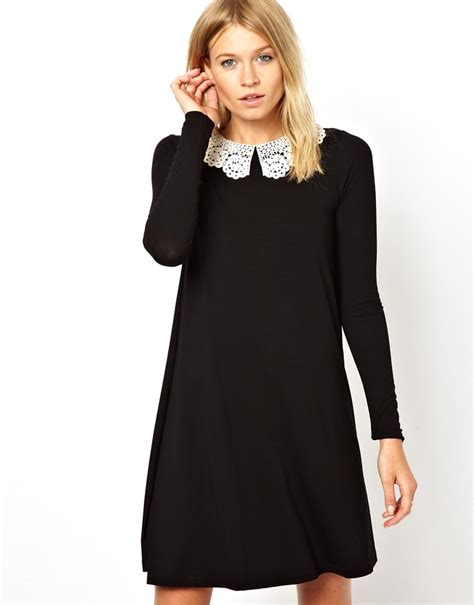23695 V Neck asos swing dress with crochet collar and sleeves