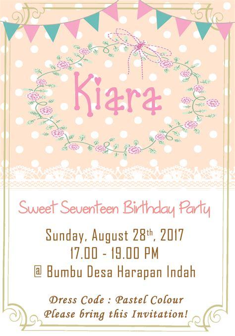 membuat undangan sweet seventeen smiley kids kartu undangan ulang tahun invitation card