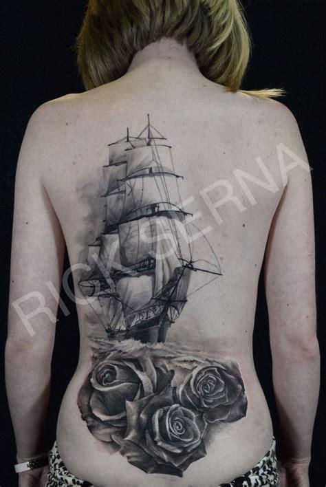 ship tattoo black and grey black and grey clipper ship tattoo done by rick serna