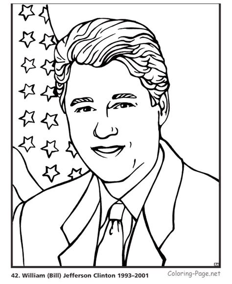 bill clinton us president coloring page american
