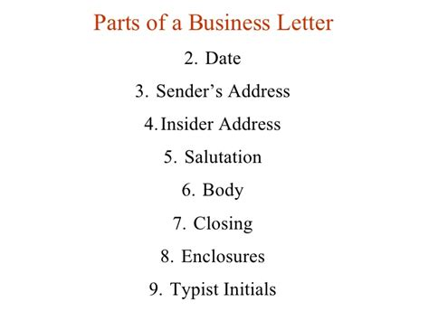 Business Letter Supplementary Parts parts of a business letter the best letter sle