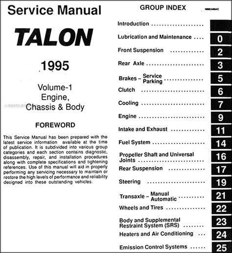 1995 eagle talon repair shop manual original 2 volume set