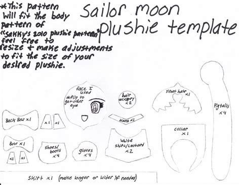 felt plushie templates sailor moon plushie template pattern by grnmarco sailor