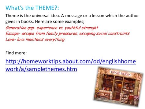 theme exles for books how to write a book report