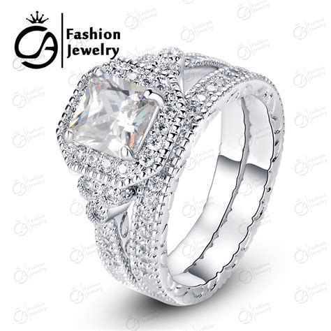 OLA High Quality 14k White Gold Halo Bridal Set Round Cut
