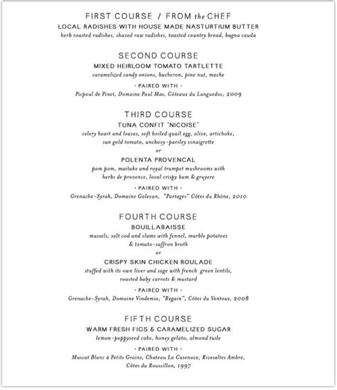 5 course dinner menu barbuzzo to host a five course quot summer in provence quot wine
