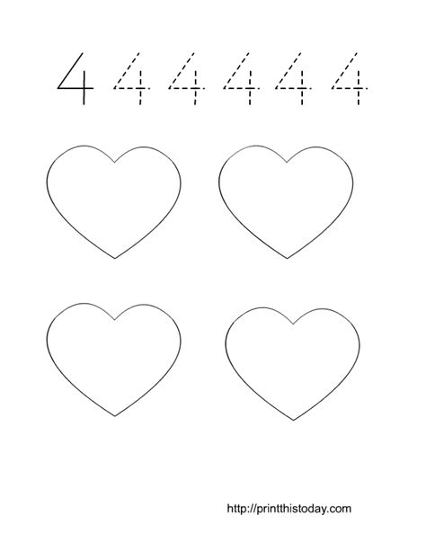 printable tracing number 4 free printable valentine themed math worksheets 1 10