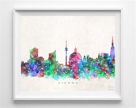watercolor tattoo vienna vienna austria skyline watercolor print watercolor