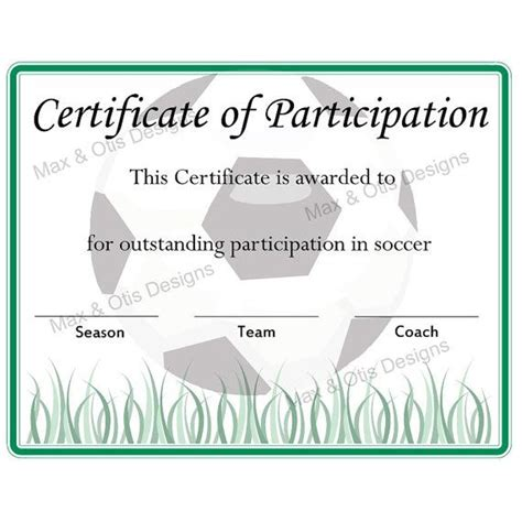 free soccer certificates 0 00 for the kids pinterest