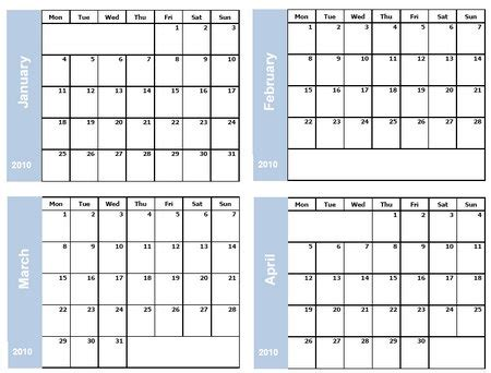 Collection Of 4 Months On One Page Blank Calendar 2015 Template