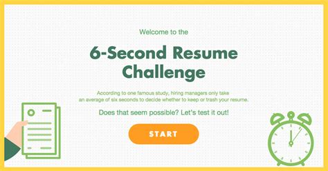 6 Second Resume Template the 6 second resume challenge resume genius
