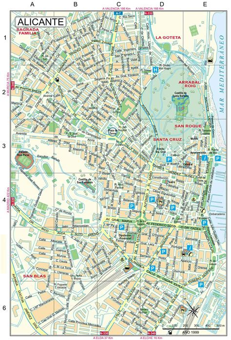 map of alicante city large alicante maps for free and print high