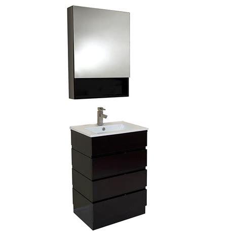 Bathroom Mirror Cabinet Espresso Fresca Amato 24 In Vanity In Espresso With Marble Vanity