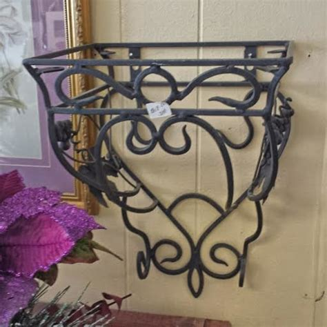 black wrought iron wall shelf for sale traditional