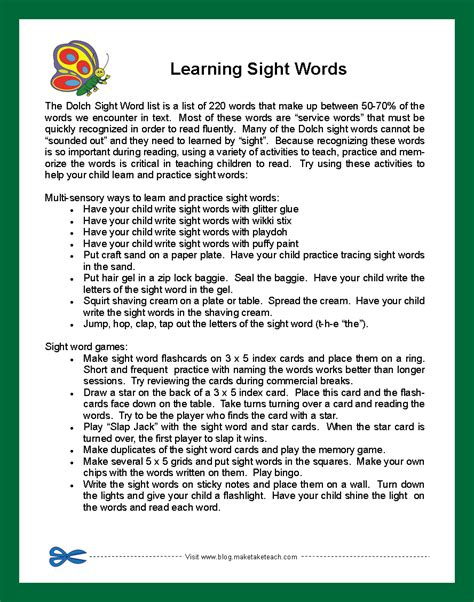 Parent Letter Explaining Class parent handouts for learning sight words and improving reading fluency make take teach