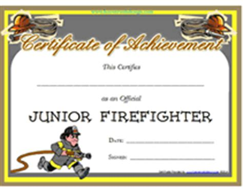 free printable junior firefighter award certificate