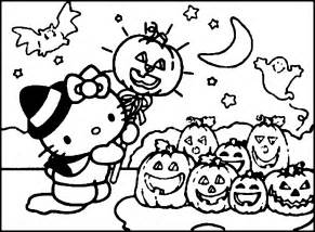 halloween kitty colouring pages