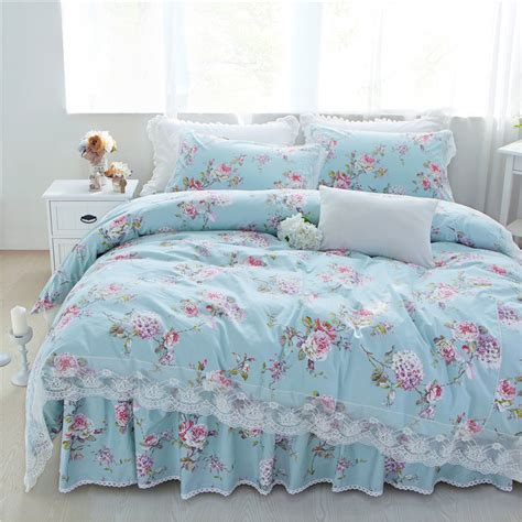 light blue princess style floral bedding set queen full