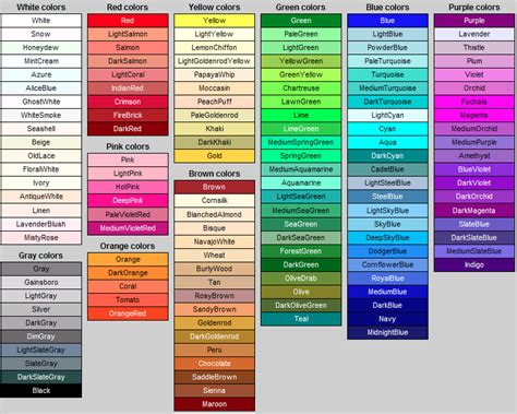 картинки по запросу colors name in иностранный