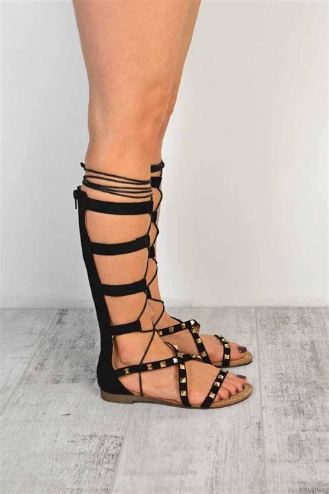knee high lace up sandals black suede lace up knee high strappy flat gladiator