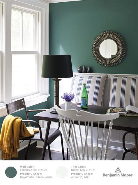 benjamin caribbean teal is the best green blue for an accent of feature wall or a whole