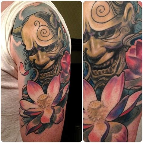 hannya mask tattoo colour meaning hannya lotus flower tattoo tattooistartmag