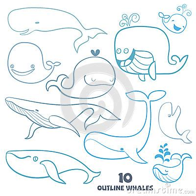 free vector doodle characters set of doodle whale characters stock vector image