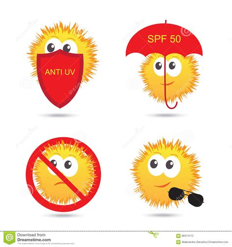 Sun Protection Set set of uv sun protection and anti uv icons vector