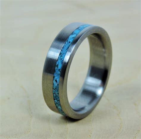 Mens Handmade Rings - wedding ring titanium with turquoise ring titanium ring