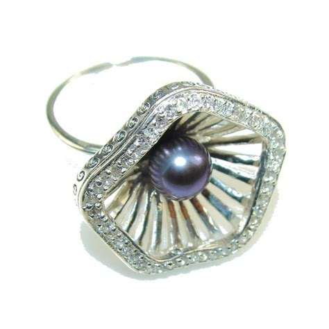 design blister pearl sterling silver ring s 8