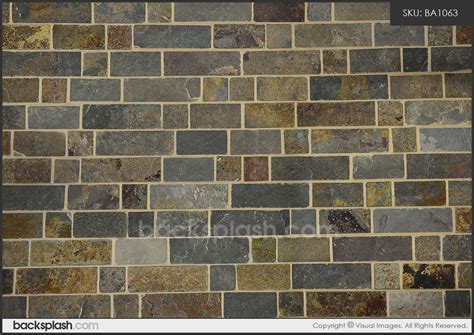 rusty brown slate mosaic backsplash tile