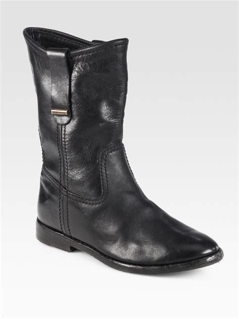 black leather moto boots burberry dunbar leather motorcycle boots in black lyst