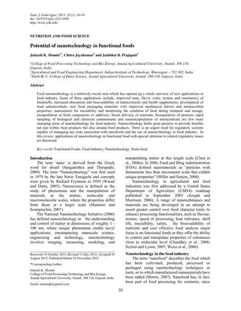 emirates journal of food and agriculture potential of nanotechnology in functional pdf download