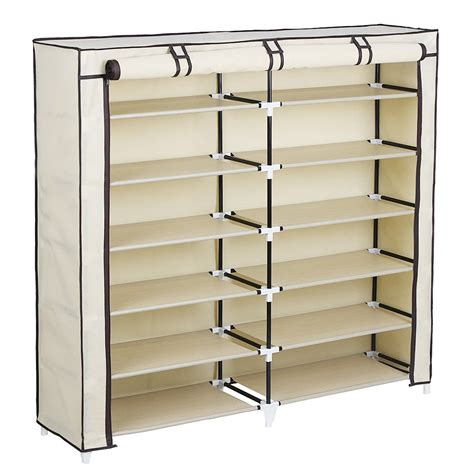 shoe storage with cover 36 pairs portable shoe rack closet cover shoes storage