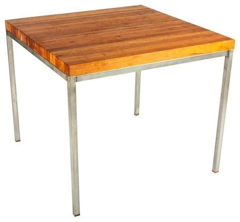 cherry butcher block table stainless steel base - Stainless Steel Butcher Block Table