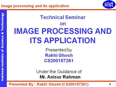 Application Processing System Ppt Image Processing And Its Application Authorstream