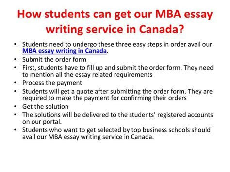 How To Go Canada After Mba by Ppt Mba Essay Writing Service Canada Powerpoint