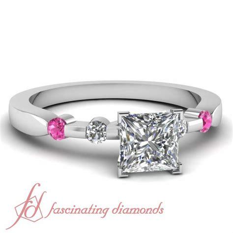 60 ct princess cut pink sapphire engagement ring