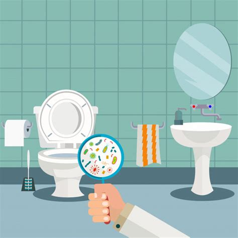 bathroom bacteria hand holding a magnifying glass showing bacteria in the