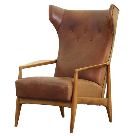 beautiful leather lounge wing chair german design at 1stdibs