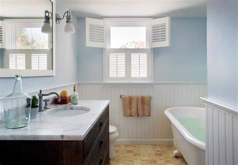 Cape Cod Wainscoting by Blue Paint On Walls And Beadboard Trim On Lower
