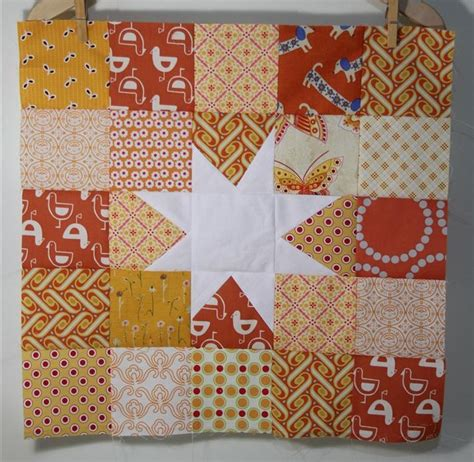 Orange Quilt Bee by Rainbow Starburst Block A Tutorial Katsoper