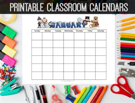 printable monthly calendar kindergarten 8 best images of kindergarten calendar 2016 printable